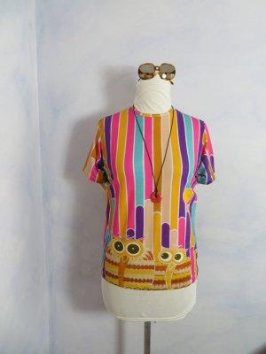 ungetragenes bunt gestreiftes Print-Shirt mit Eulen Gr. S M Baumwolle Basic
