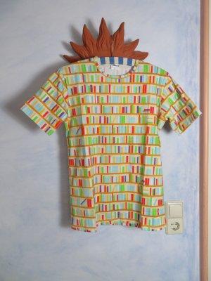 ungetragenes lustiges bunt gemustertes Print Shirt Streifen Hemd Gr. S M Baumwolle Basic