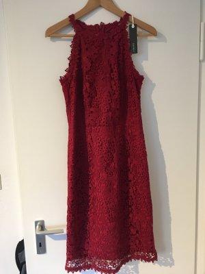 Ungetragenes rotes Esprit Cocktailkleid aus Spitze