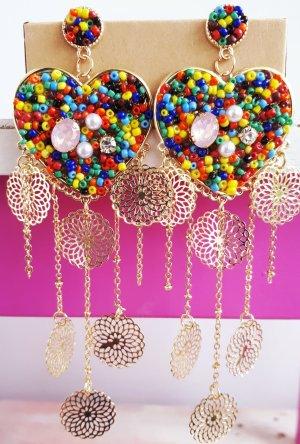 Ungewöhnliche Retro Vintage Ohrringe bunte Herzen Handmade ungetragen
