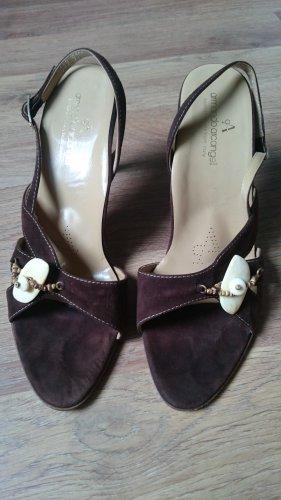 Hoge hakken sandalen bruin-donkerbruin Leer