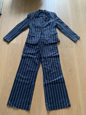 Zero Pinstripe Suit black-silver-colored