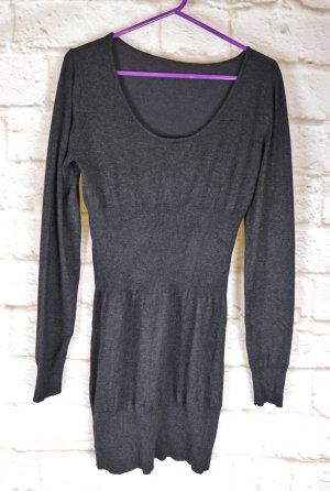 Uni Basic Strickkleid Feinstrick Kleid Takko Größe 36 38 Anthrazit Graun Rundhals Ballon Langarm Stretch