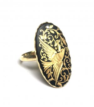 handmade unikat Gold Ring gold-colored-black