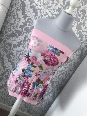 Unikat Bandeau Top Blumen Rosa Vintage