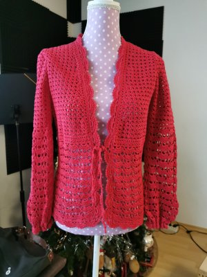 Hand made Cardigan all'uncinetto rosso