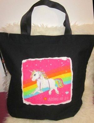 UNIKAT Handmade Tasche EINHORN UNICORN XXL Stofftasche Stoffbeutel Shopper Bag Einzelstück UNIKAT schwarz pink weiß bunt Schleife Regenbogen NEU