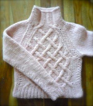 UNIKAT! Handstrick Pullover in zartem Rosé Grösse XS/S
