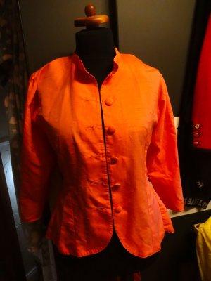 Unikat Jacke Wildseide Farbe Hummer Orange Gr 38 zart mit Schleife Handgefertigt