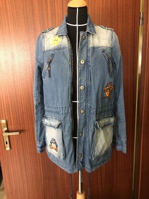 Unikat Jeans Jacke lang mit Patches 90er