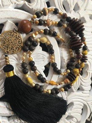 Collier de perles brun noir-orange doré bois