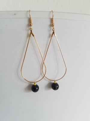 Unikat-Kreolen mit schwarzer Achat-Perle (Goldfarben)