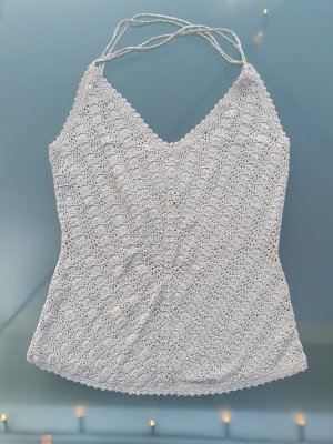 Crochet Top silver-colored-natural white