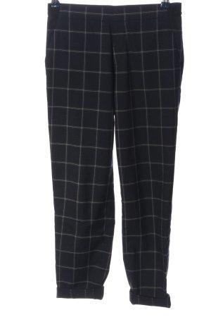 Uniqlo Pantalon 7/8 noir-blanc motif à carreaux style décontracté