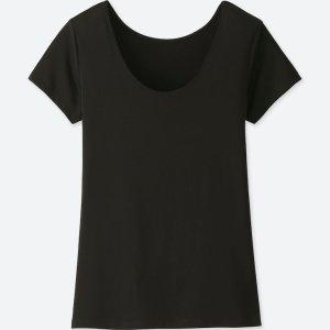 UNIQLO AIRism T-Shirt Fitness Underwear Sport mit Rundhals Ausschnitt Schwarz S 36