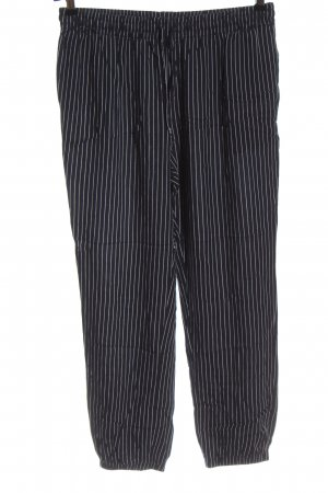 Uniqlo Baggy Pants schwarz-weiß Streifenmuster Business-Look
