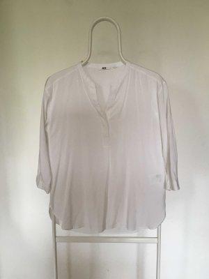 Uniqlo Stand-Up Collar Blouse white viscose