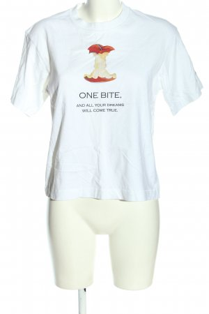 Uniqlo Camisa recortada blanco estampado temático look casual