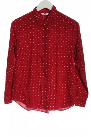 Uniqlo Hemd-Bluse rot-weiß Punktemuster Elegant