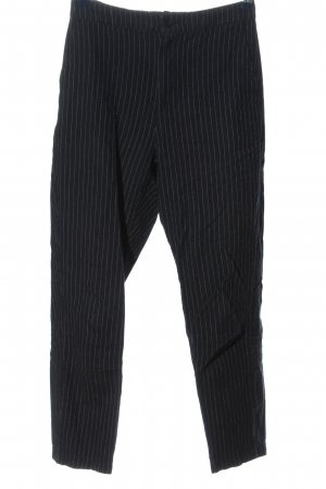 Uniqlo High-Waist Hose schwarz-hellgrau Streifenmuster Business-Look