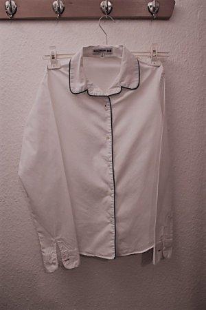 Uniqlo & INES DE LA FRESSANGE  Hemd-Bluse weiß mit blauer Paspel, Business  Look, Pyjama-Style,