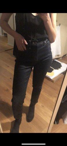 Uniqlo Hoge taille jeans olijfgroen-donkerblauw