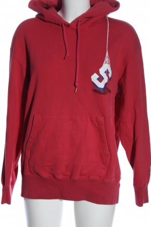 Uniqlo Kapuzensweatshirt rot Motivdruck Casual-Look