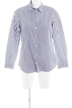 Uniqlo Langarmhemd weiß-dunkelblau Streifenmuster Business-Look