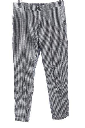 Uniqlo Pantalón de lino negro-blanco estampado a cuadros look casual