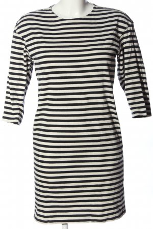 Uniqlo Minikleid schwarz-creme Streifenmuster Casual-Look