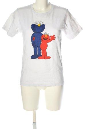 Uniqlo Print-Shirt weiß Motivdruck Casual-Look