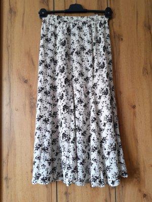Uniqlo Spódnica z falbanami biały-ciemnoniebieski
