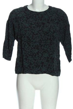 Uniqlo Schlupf-Bluse grün-schwarz abstraktes Muster Casual-Look