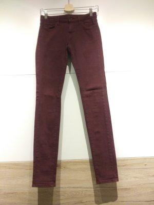 Uniqlo Stretch Trousers bordeaux-blackberry-red cotton