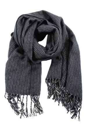 Uniqlo Bufanda de punto negro-blanco estampado a rayas look casual