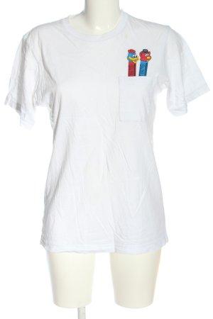 Uniqlo T-shirt bianco-blu Stampa a tema stile casual