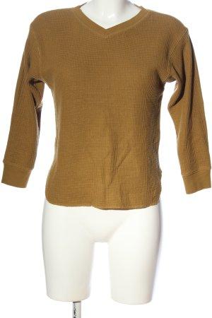 Uniqlo V-Ausschnitt-Pullover blassgelb Casual-Look