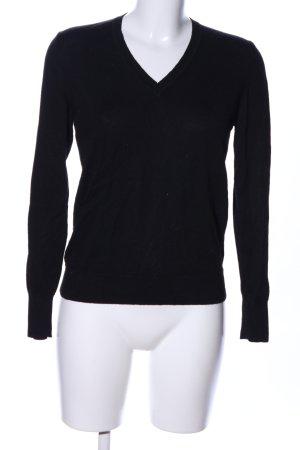 Uniqlo V-Ausschnitt-Pullover schwarz Business-Look