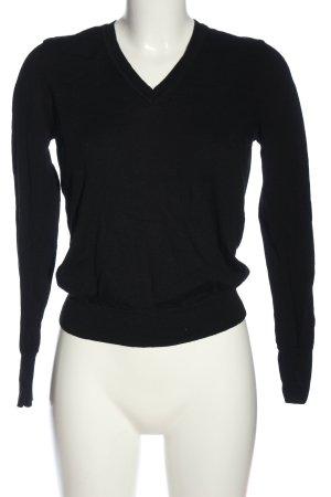 Uniqlo V-Ausschnitt-Pullover schwarz Casual-Look