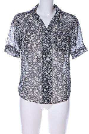 UNIQLO x Ines de la Fressange Kurzarm-Bluse schwarz-weiß Blumenmuster