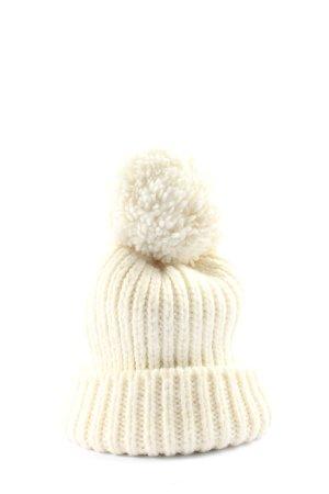 Unique Szydełkowana czapka kremowy W stylu casual
