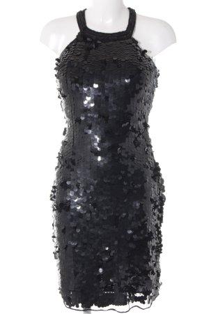 Unique Pailettenkleid schwarz Perlenverzierung