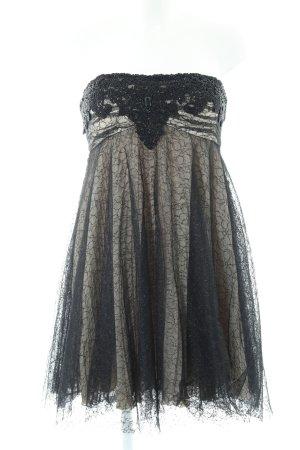 Unique Spitzenkleid schwarz-wollweiß Glanz-Optik