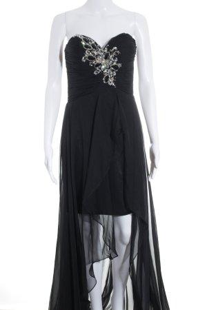 Unique Vokuhila-Kleid schwarz Glitzer-Optik