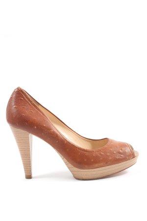 Unisa Peep Toe Pumps brown casual look