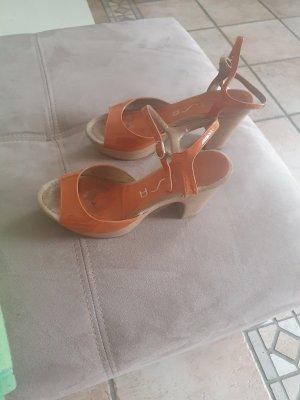 Unisa Sandały na grubym obcasie pomarańczowy