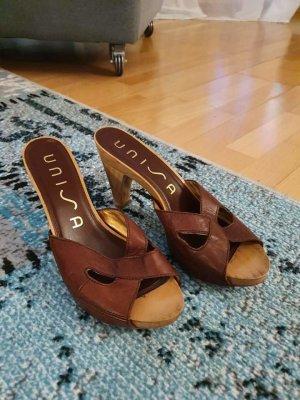 Unisa High-Heeled Toe-Post Sandals brown-dark brown