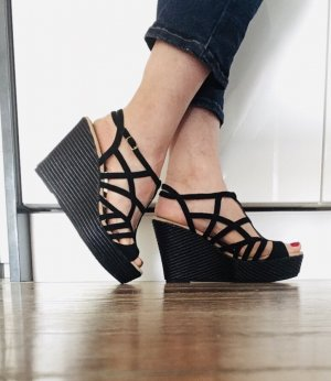 Unisa Zapatos de cuña negro-crema Cuero