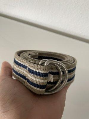 Cinturón de tela marrón grisáceo-azul oscuro
