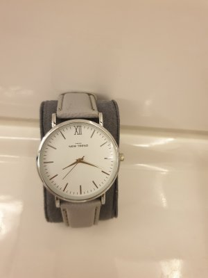Watch With Leather Strap grey-azure